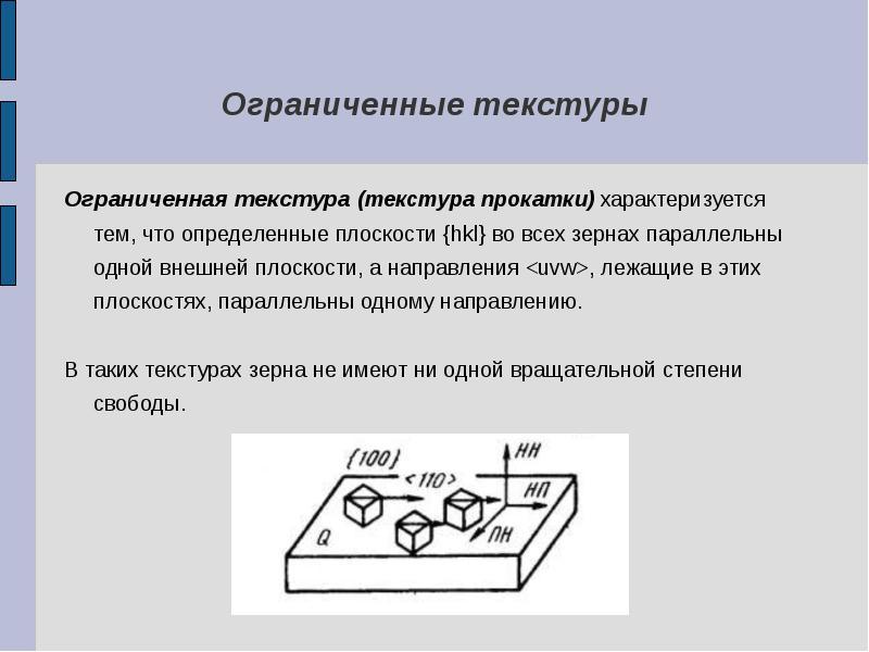 Ограниченные текстуры Ограниченная текстура (текстура прокатки) характеризуется тем, что определенны