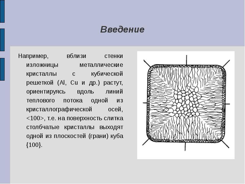 Введение Например, вблизи стенки изложницы металлические кристаллы с кубической решеткой (Al, Cu и д