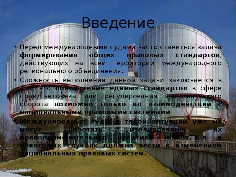 Введение Перед международными судами часто ставиться задача формирования общих правовых стандартов,