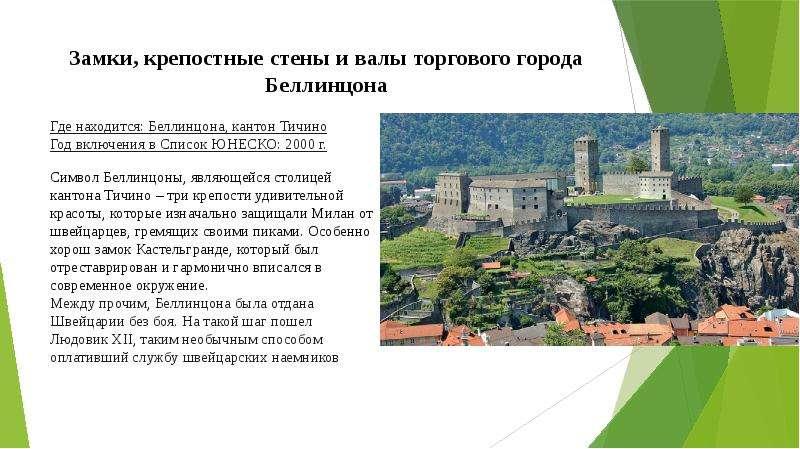 Замки, крепостные стены и валы торгового города Беллинцона