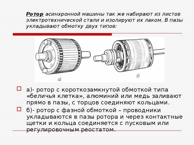 Ротор асинхронной машины так же набирают из листов электротехнической стали и изолируют их лаком. В