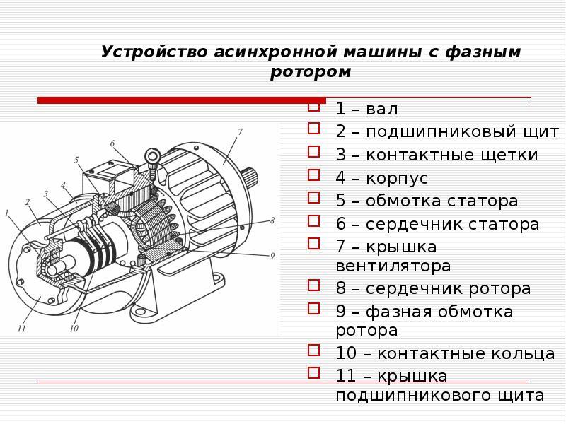 Устройство асинхронной машины с фазным ротором 1 – вал 2 – подшипниковый щит 3 – контактные щетки 4