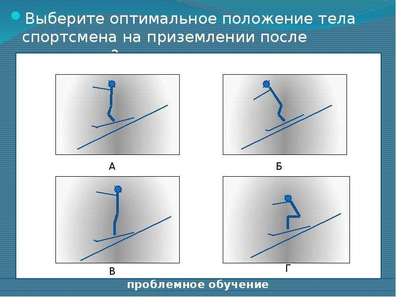 Выберите оптимальное положение тела спортсмена на приземлении после трамплина? Выберите оптимальное