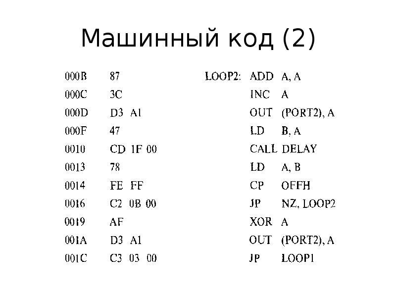 Машинный код (2)