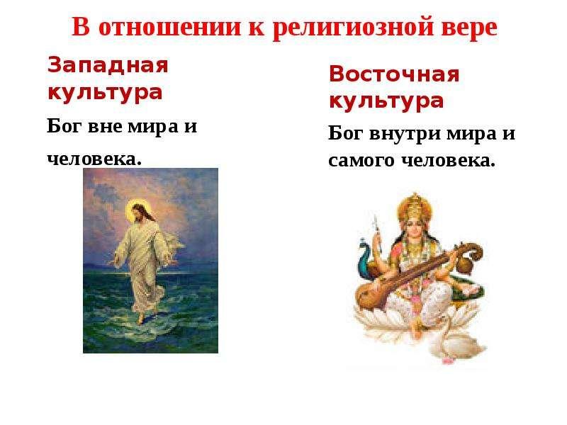 В отношении к религиозной вере Западная культура Бог вне мира и человека.