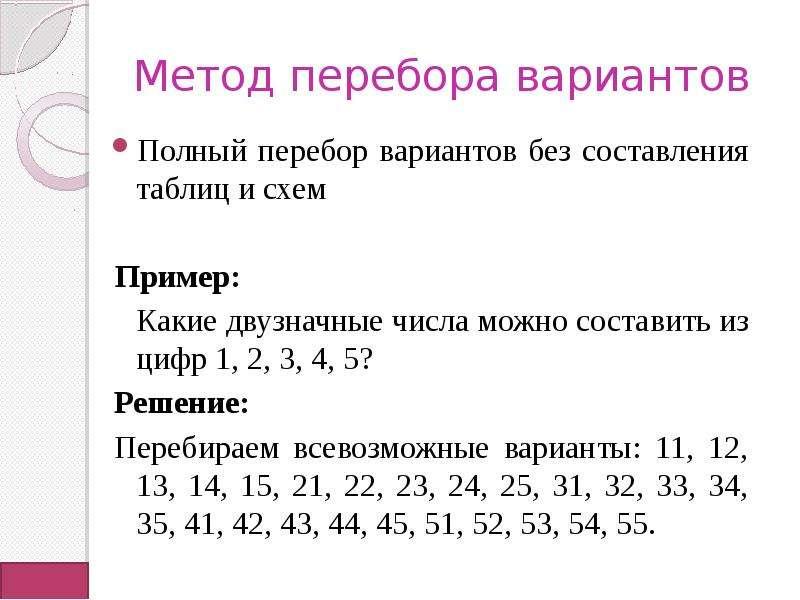 Метод перебора вариантов Полный перебор вариантов без составления таблиц и схем Пример: Какие двузна