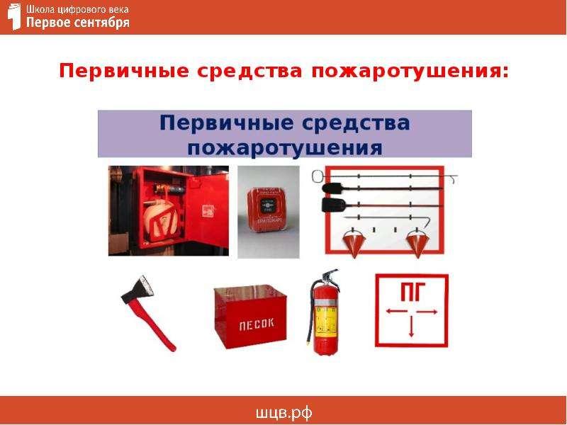 Первичные средства пожаротушения: