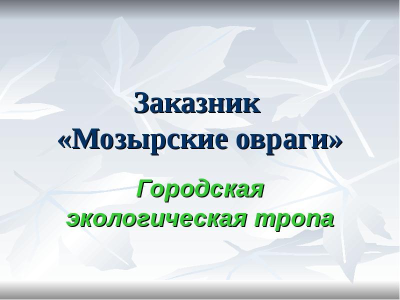 Презентация Заказник «Мозырские овраги». Городская экологическая тропа