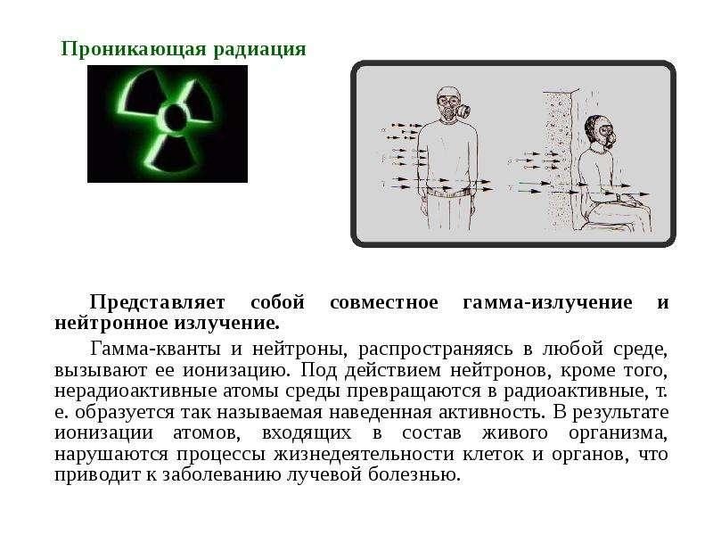 Проникающая радиация Представляет собой совместное гамма-излучение и нейтронное излучение. Гамма-ква