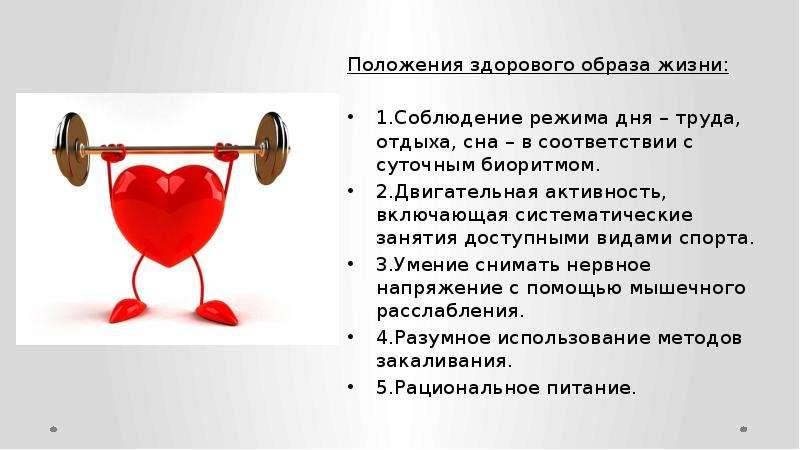 Положения здорового образа жизни: 1. Соблюдение режима дня – труда, отдыха, сна – в соответствии с с