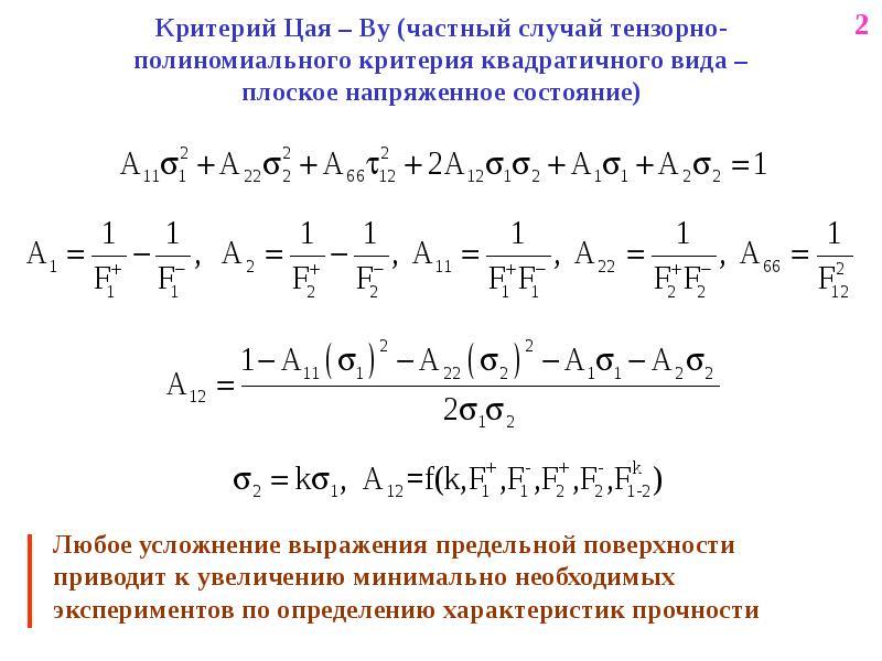 Критерий Цая – Ву (частный случай тензорно-полиномиального критерия квадратичного вида – плоское нап