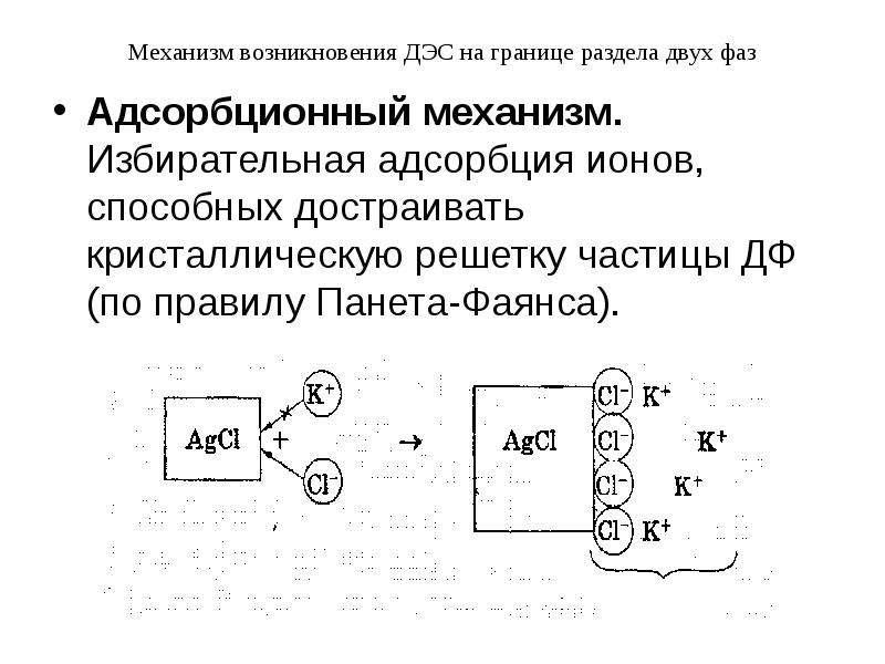 Механизм возникновения ДЭС на границе раздела двух фаз Адсорбционный механизм. Избирательная адсорбц