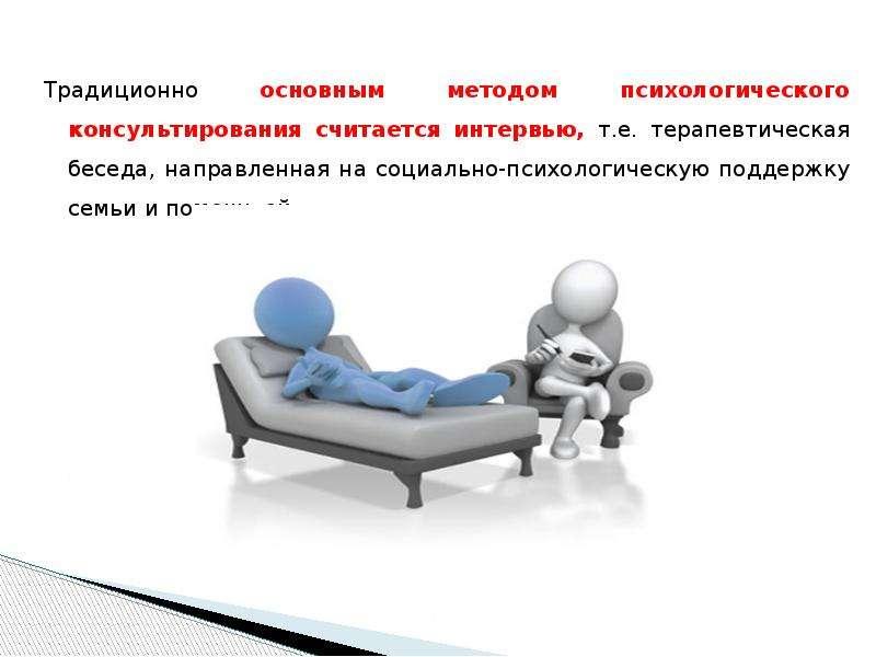 Традиционно основным методом психологического консультирования считается интервью, т. е. терапевтиче