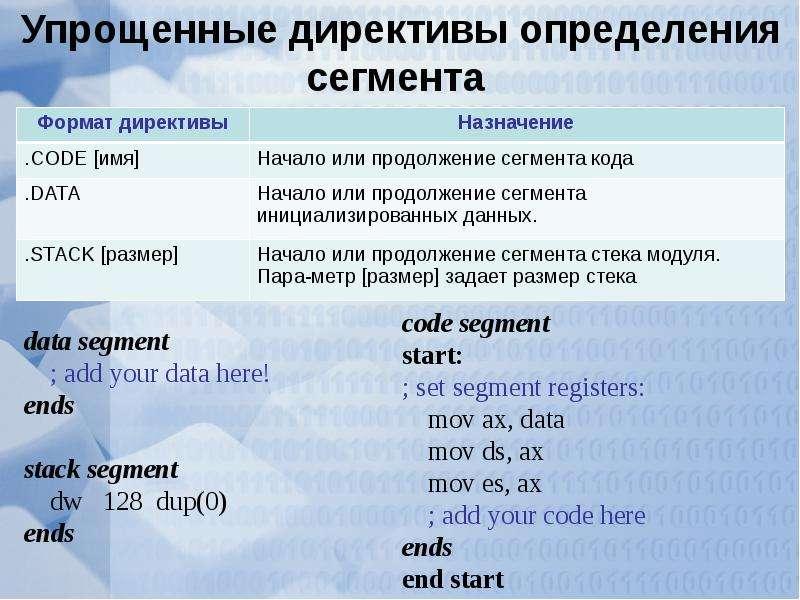 Упрощенные директивы определения сегмента