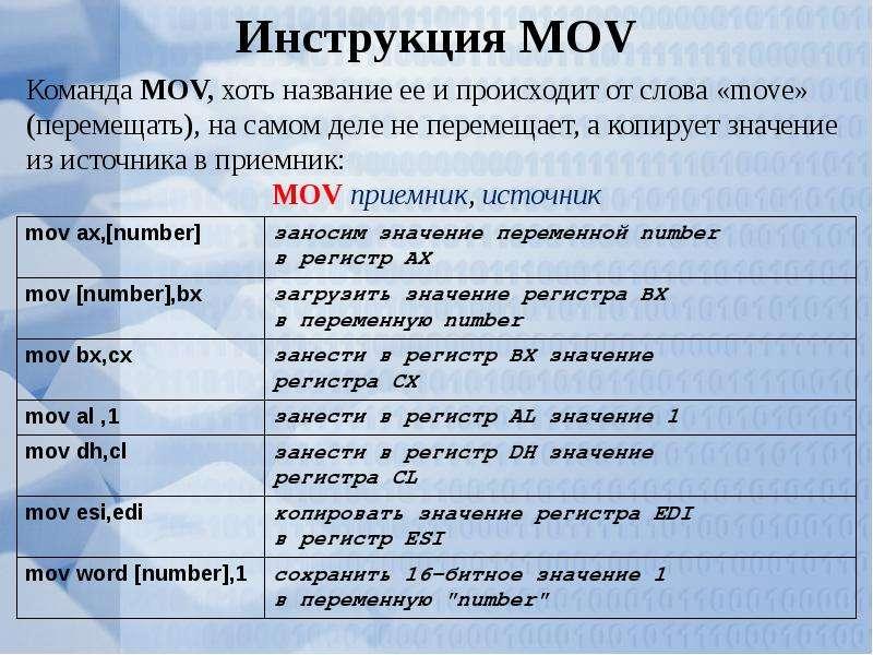 Основные компоненты языка Ассемблер, слайд 17