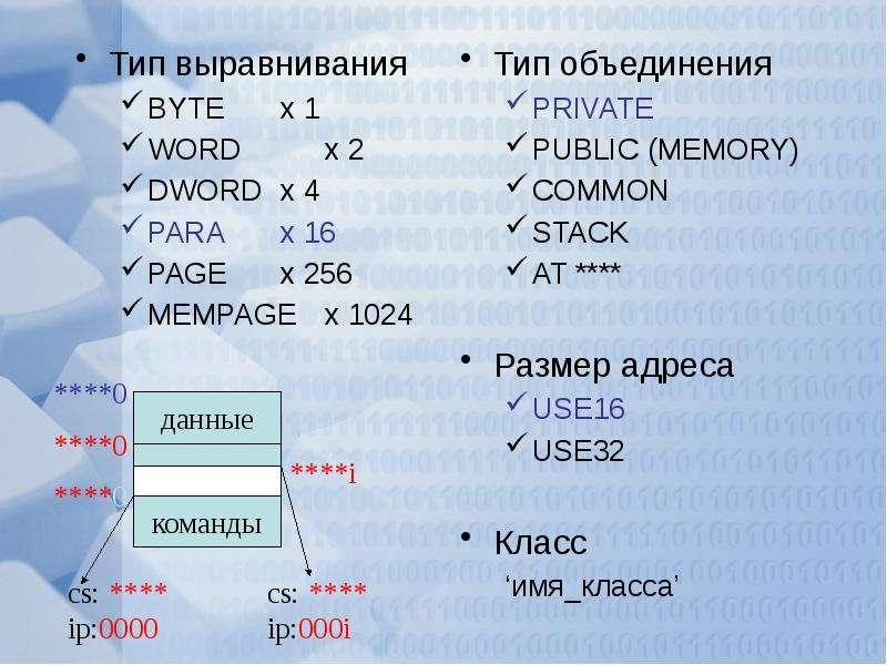 Тип выравнивания Тип выравнивания BYTE x 1 WORD x 2 DWORD x 4 PARA x 16 PAGE x 256 MEMPAGE x 1024