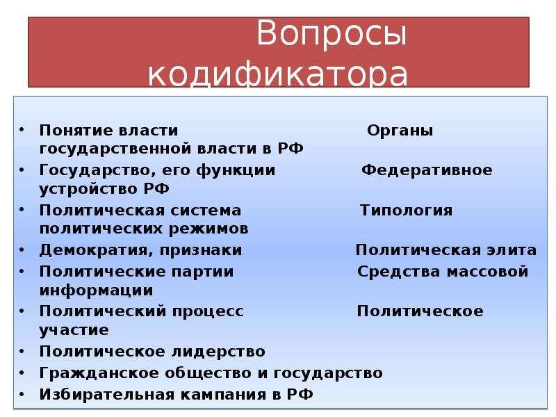 Вопросы кодификатора Понятие власти Органы государственной власти в РФ Государство, его функции Феде