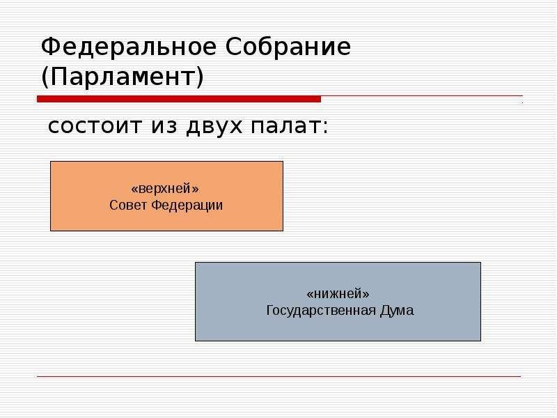 Федеральное Собрание (Парламент) состоит из двух палат: