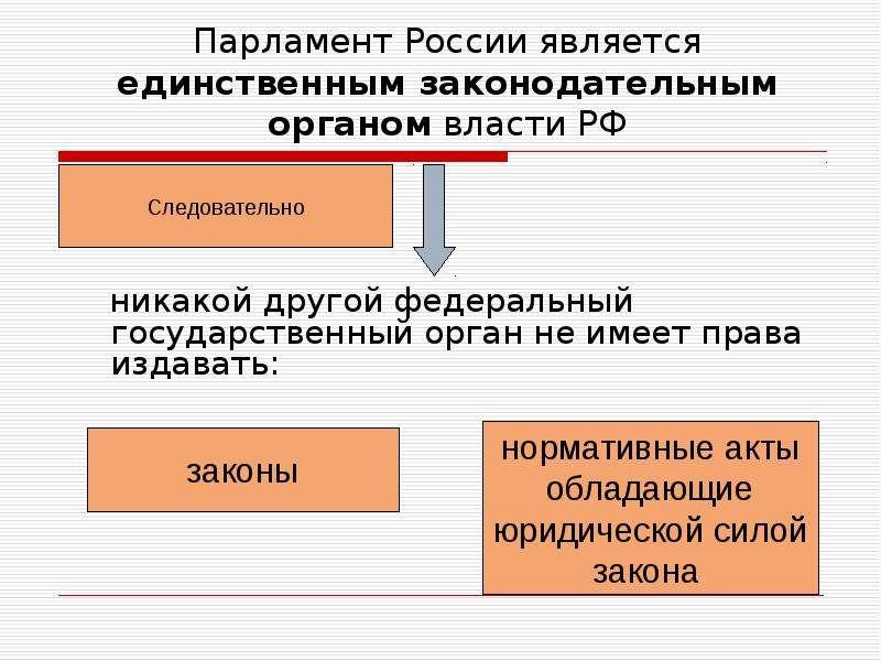 Парламент России является единственным законодательным органом власти РФ никакой другой федеральный