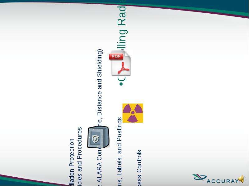 Radiation Protection Policies and Procedures The ALARA Concept (Time, Distance and Shielding) Signs,