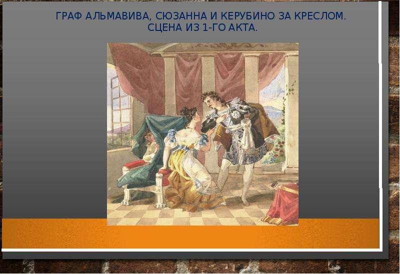 ГРАФ АЛЬМАВИВА, СЮЗАННА И КЕРУБИНО ЗА КРЕСЛОМ. СЦЕНА ИЗ 1-ГО АКТА.