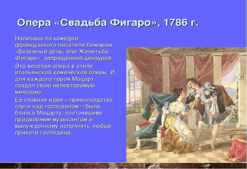Вольфганг Амадей Моцарт. Опера «Свадьба Фигаро», слайд 4