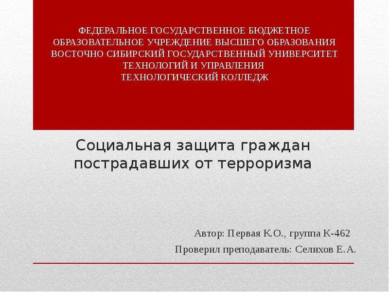 Презентация Социальная защита граждан, пострадавших от терроризма