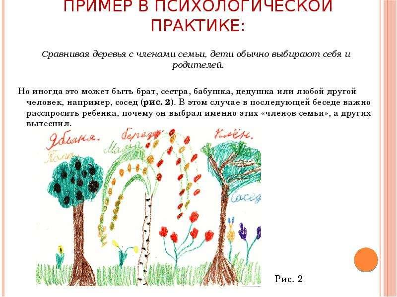 Пример в психологической практике: Сравнивая деревья с членами семьи, дети обычно выбирают себя и ро