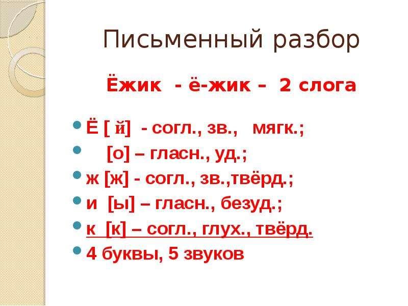 Письменный разбор Ёжик - ё-жик – 2 слога Ё [ й] - согл. , зв. , мягк. ; [о] – гласн. , уд. ; ж [ж] -