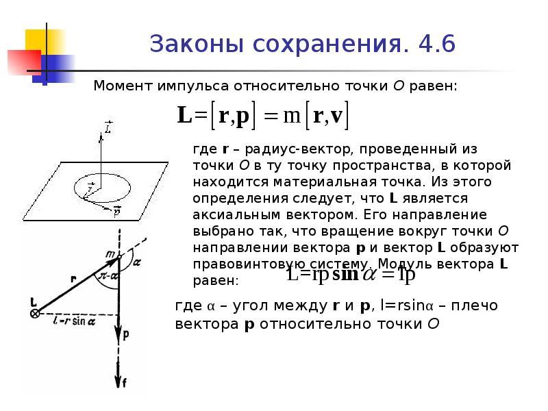 Законы сохранения. 4. 6 Момент импульса относительно точки О равен: