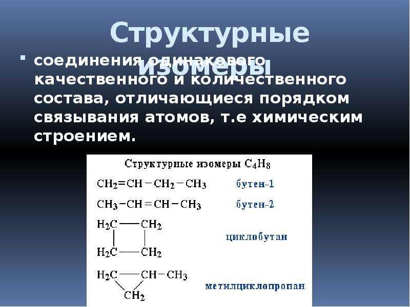 Структурные изомеры соединения одинакового качественного и количественного состава, отличающиеся пор