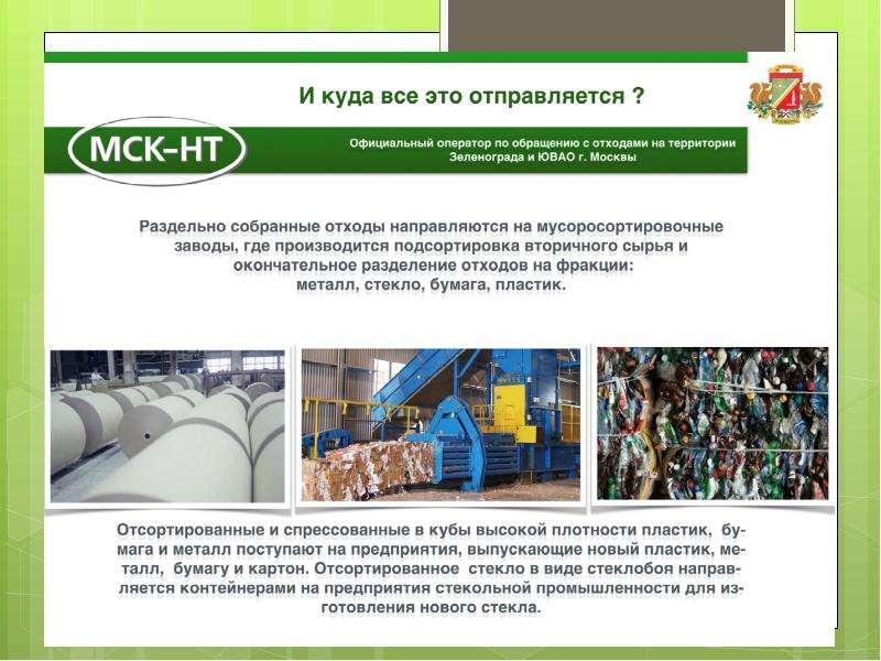 Сортировка бытовых отходов в Зеленограде, слайд 7