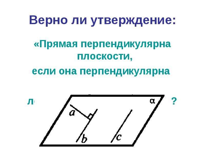 Верно ли утверждение: «Прямая перпендикулярна плоскости, если она перпендикулярна двум прямым, лежащ