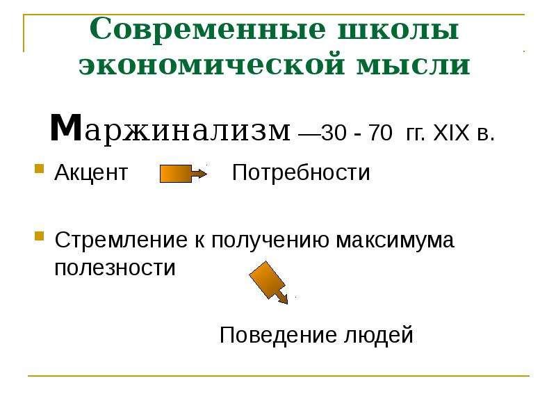Современные школы экономической мысли Маржинализм —30 - 70 гг. XIX в. Акцент Потребности Стремление
