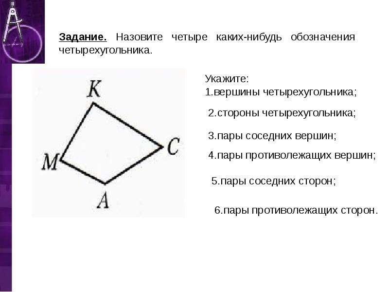 Укажите: 1. вершины четырехугольника;
