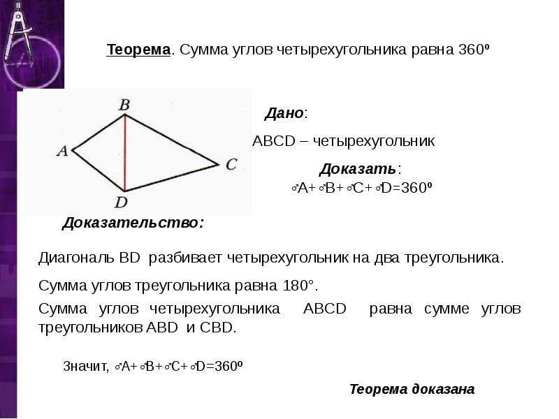 Теорема. Сумма углов четырехугольника равна 360º