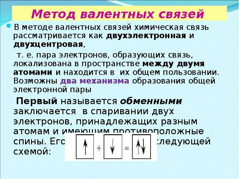 Метод валентных связей В методе валентных связей химическая связь рассматривается как двухэлектронна