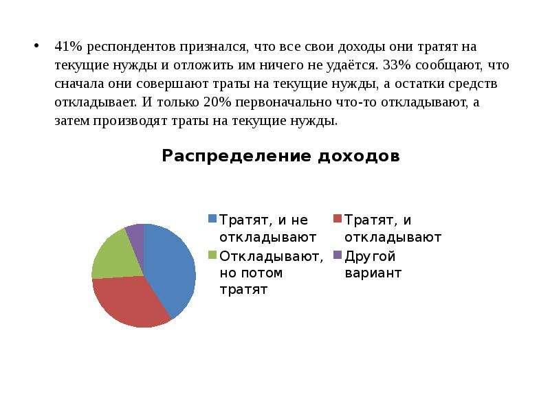 41% респондентов признался, что все свои доходы они тратят на текущие нужды и отложить им ничего не