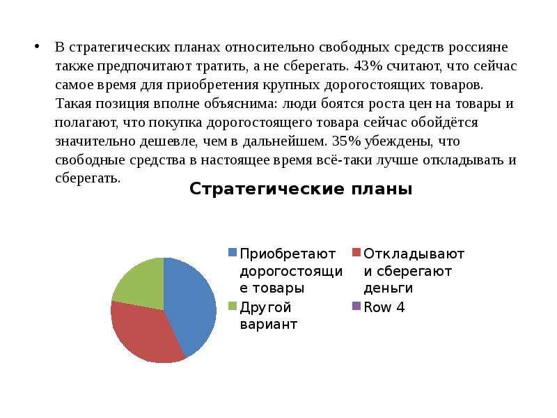 В стратегических планах относительно свободных средств россияне также предпочитают тратить, а не сбе