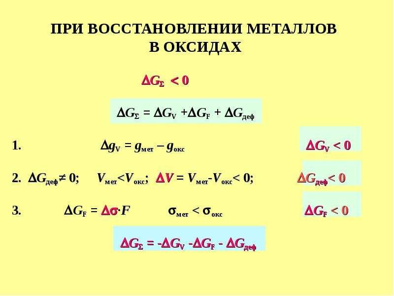ПРИ ВОССТАНОВЛЕНИИ МЕТАЛЛОВ В ОКСИДАХ G  0 G = GV +GF + Gдеф 1. gV = gмет – gокс GV < 0