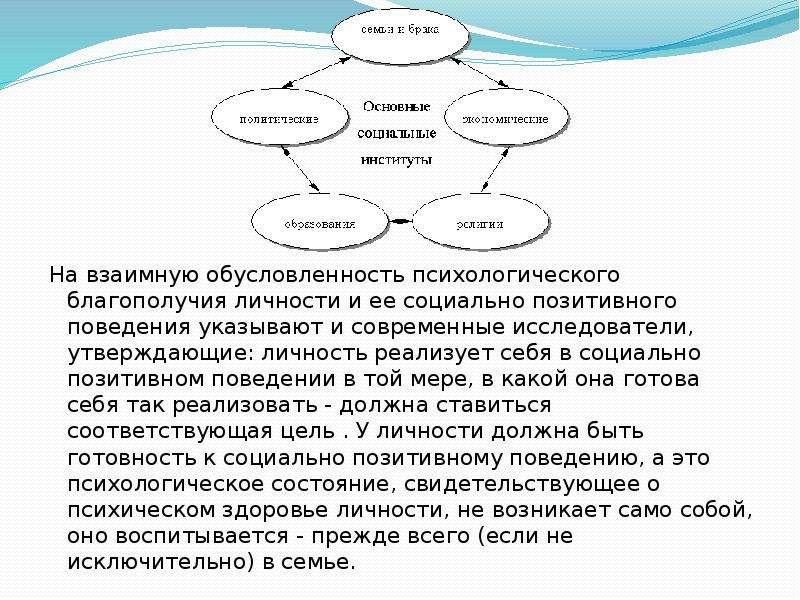 На взаимную обусловленность психологического благополучия личности и ее социально позитивного поведе
