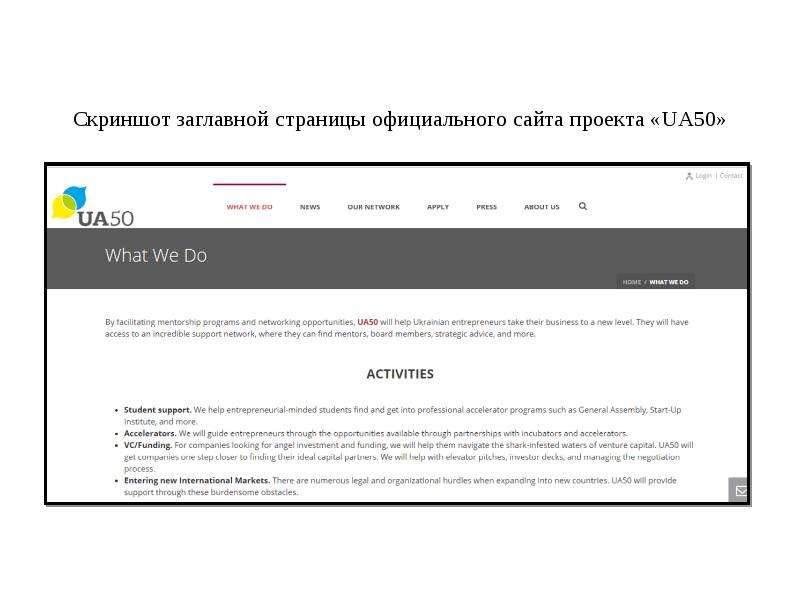Cкриншот заглавной страницы официального сайта проекта «UA50»