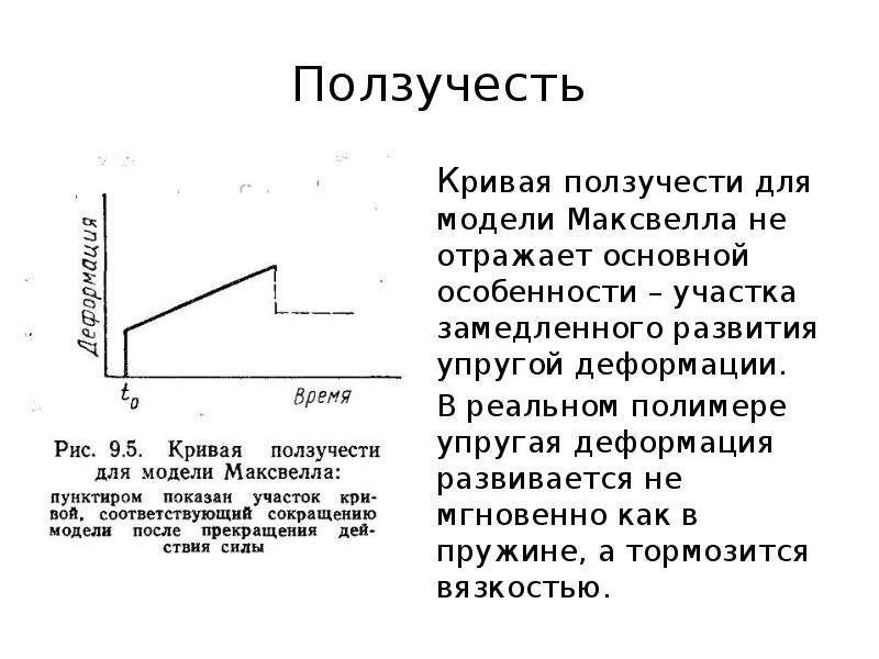 Ползучесть Кривая ползучести для модели Максвелла не отражает основной особенности – участка замедле