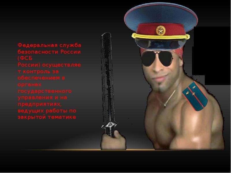 Федеральная служба безопасности России (ФСБ России) осуществляет контроль за обеспечением в органах