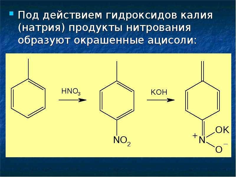 Под действием гидроксидов калия (натрия) продукты нитрования образуют окрашенные ацисоли: Под действ