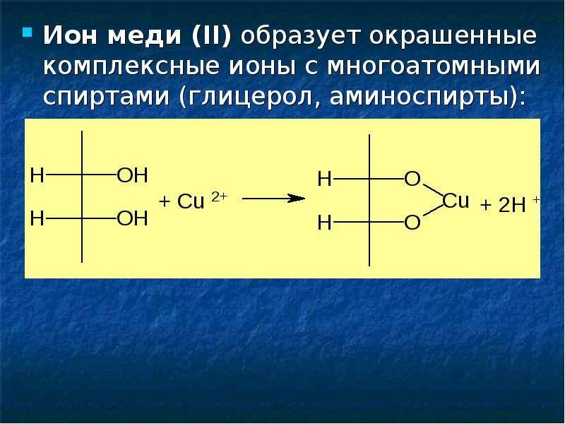Ион меди (II) образует окрашенные комплексные ионы с многоатомными спиртами (глицерол, аминоспирты):