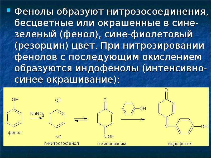 Фенолы образуют нитрозосоединения, бесцветные или окрашенные в сине-зеленый (фенол), сине-фиолетовый