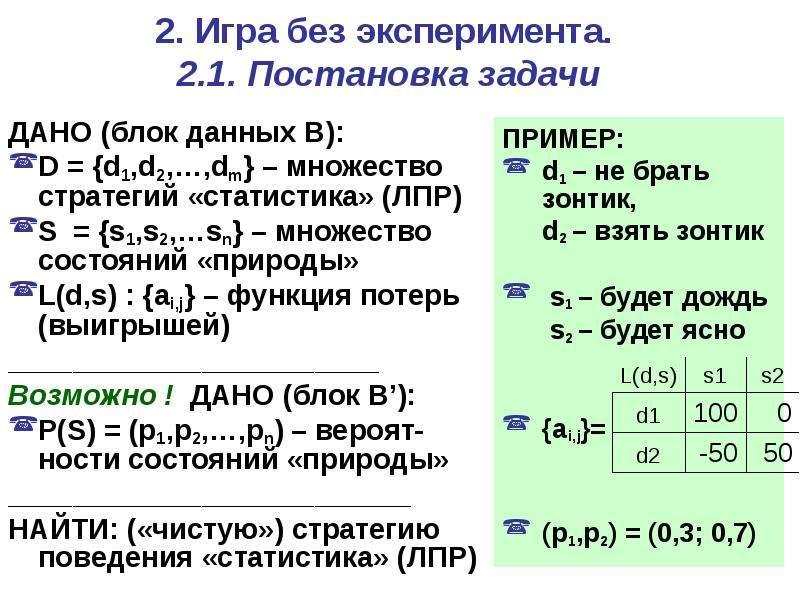 2. Игра без эксперимента. 2. 1. Постановка задачи ДАНО (блок данных B): D = {d1,d2,…,dm} – множество