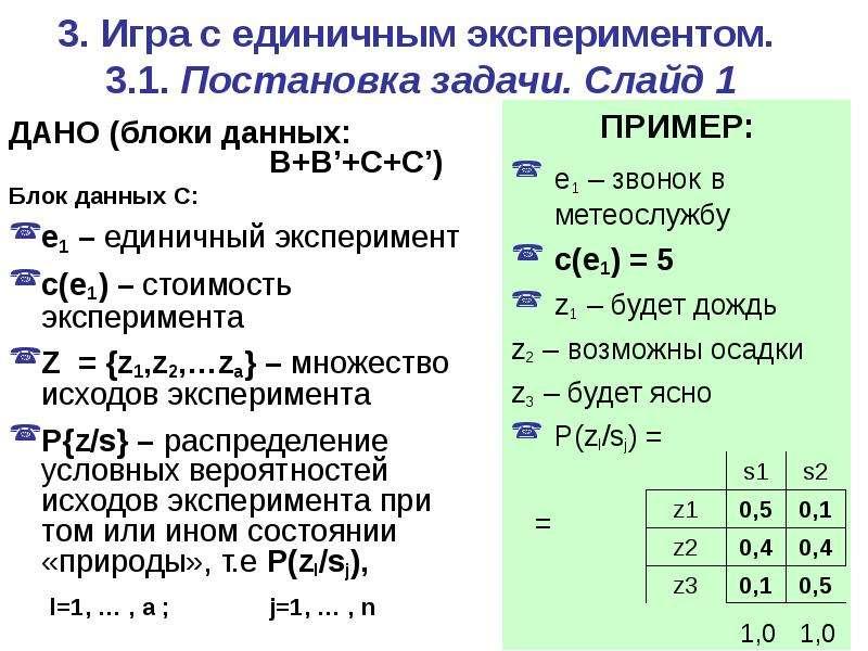 3. Игра c единичным экспериментом. 3. 1. Постановка задачи. Слайд 1 ДАНО (блоки данных: B+B'+C+C') Б