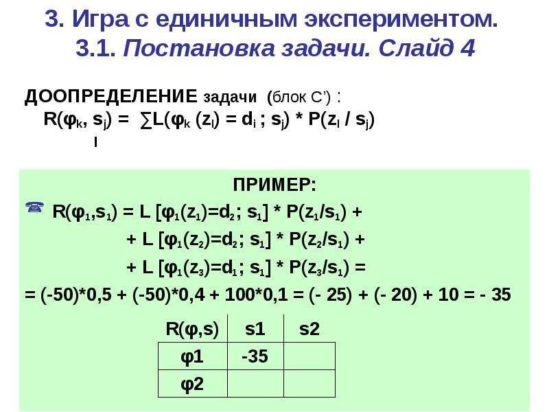 3. Игра c единичным экспериментом. 3. 1. Постановка задачи. Слайд 4 ДООПРЕДЕЛЕНИЕ задачи (блок С') :